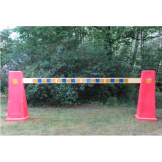 Avstängningsbräda, trä, blå/gul