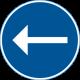 D1-1 Påbjuden körriktning - vänster