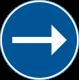 D1-2 Påbjuden körriktning - höger