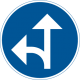 D1-6 Påbjuden körriktning - rakt fram eller vänster