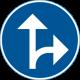 D1-7 Påbjuden körriktning - rakt fram eller höger