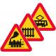 A35, A36, A37 Varning för korsningar med järnväg eller spårväg