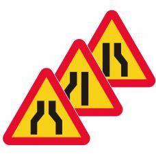 A5 Varning för avsmalnande väg